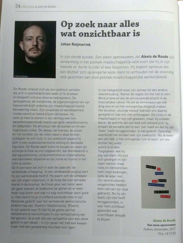 Poëziekrant maart 2018, recensie door Johan Reijmerink